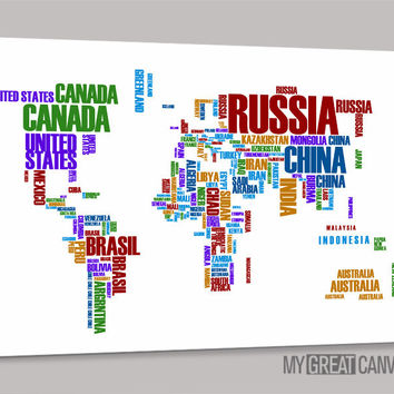 Canvas Prints Typography Colorful World Map | Wall Art Map Canvas | Large Wall Art Canvas Type World Map Painting