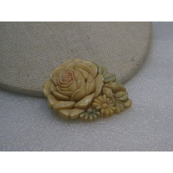 Vintage Celluloid Carved Rose Brooch, Tinted, signed Japan, C-Clasp, 1930's-1940's