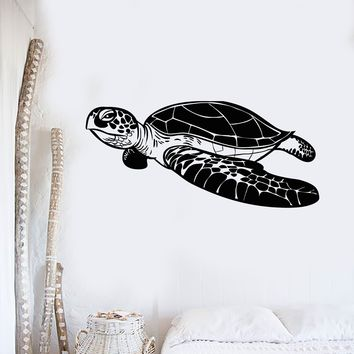 Vinyl Wall Decal Sea Turtle Marine Decoration Ocean Bathroom Stickers Unique Gift (555ig)