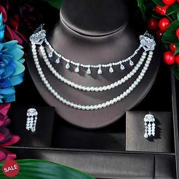 3 layer Pearl AAA Cubic Zircon Bridal Jewelry Set