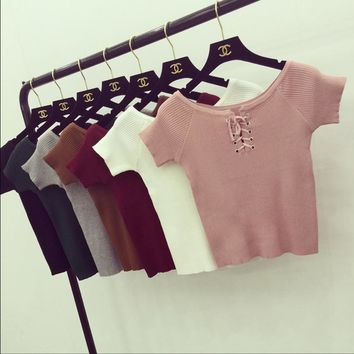 Summer new lace cultivating wild solid color short-sleeve sweater female head