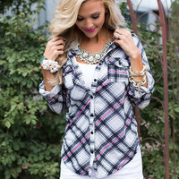 All About Love Plaid 3/4 Sleeve Top Charcoal/Hot Pink