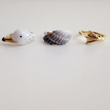 daintyme Enamel Sea Gull Ring Set l Bird Ring l Animal Ring