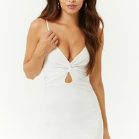 Sheeny Cutout Twist-Front Bodycon Dress