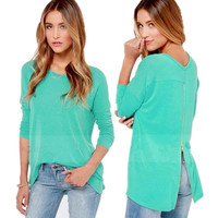 Light Blue Sleeve Zip-Down Back Shirt