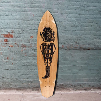 "Madrid President Dude Bamboo Carving Longboard 39"" - Deck"