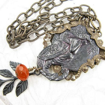 Mermaid Mixed Metal Necklace, Long Etched Brass Chain