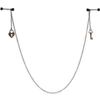 Slave to you Love Barbell Nipple Chain MADE WITH SWAROVSKI ELEMENTS | Body Candy Body Jewelry