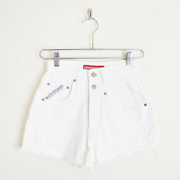 white shorts, white jean shorts, white denim shorts, white cut off shorts, white cut off jean shorts, 80s high waist shorts, 90s grunge, xs