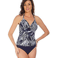 Caribbean Joe Alyson Halter Tankini Top - Navy Blue