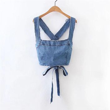 Fashion Top  Spring Sleeveless Crop Bow Top Blue Backless Woman Tank  Top