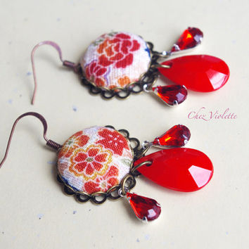 Dangle earrings Red Floral Flowers Japanese fabric earrings Bronze Asian style