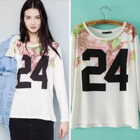 White Floral And Number Print Long-Sleeve Shirt