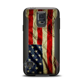 The Dark Wrinkled American Flag Samsung Galaxy S5 Otterbox Commuter Case Skin Set
