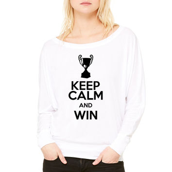 keep calm and win WOMEN'S FLOWY LONG SLEEVE OFF SHOULDER TEE