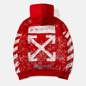 OFF-WHITE Autumn and Winter Tide brand Snowflake Arrow Hooded Turtleneck Sweater Red