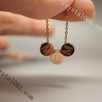 Rose gold personalized initial necklace monogam necklace personalized necklace, tiny gold necklace