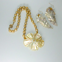 Hand Knotted Gold Pearls and14kt Gold Necklace & Earrings