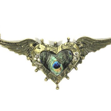 Peacock Heart Crystal Necklace Gold Tone Angel Wings NF30 Art Deco Pendant Fashion Jewelry