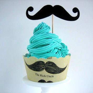 Mustache Cupcake Wrappers & Toppers  Set of 12  by brightsoslight