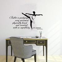 Quote About Dance Life Ballet with Dancer Ballerina Vinyl Decal Home Wall Decor Dance School Studio Stylish Sticker Unique Design Room V528
