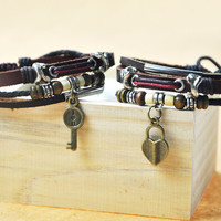 Handmade Couple Leather Bracelets- I Love U