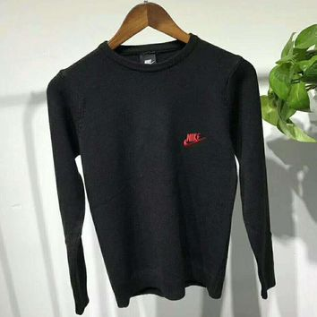 NIKE Fashion Knit Long Sleeve Round neck Pure Color Embroider Pullover Sweater G-JJ-LHYCWM