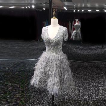 Luxury Sexy A Line Gray Short Sleeve Pearls Crystal Beaded Ostrich Feather Party Cocktail Dress 2017 Knee Length Prom Gowns VC37