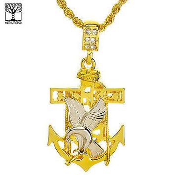 """Jewelry Kay style Men's Iced Out Fashion Anchor Cross Eagle Pendant & 22"""" Rope Chain Set NA 9594 G"""