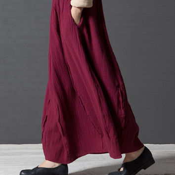 Long skirt, plus size skirt, high waist skirt, pleated skirt, wine red skirt, plain skirt, cotton maxi skirts (ESR86)