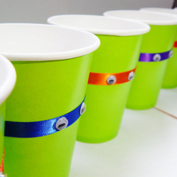 Teenage Mutant Ninja Turtle Party Cups- TMNT Birthday Decor - Set of 12