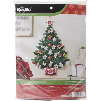 "Nordic Tree Bucilla Advent Calendar Felt Applique Kit 17""X24"""