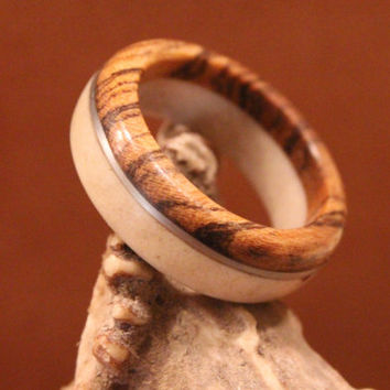 Wood Ring, Antler Ring, Elk Antler and Bocote Wood with Stainless Steel Wire Inlay