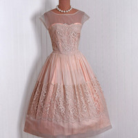1950's Vintage ChampagnePeach Chiffon and by TimelessVixenVintage