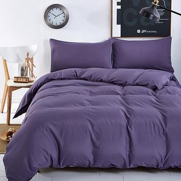 Bedding Sets Smoked Purple Simple Color Lake Blue Striped Bed Sheet