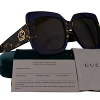 Gucci GG0083S Sunglasses Blue Havana w/Brown Lens 003 GG 0083S