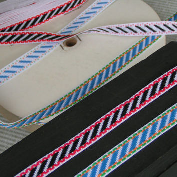 Narrow Trim in either Black Diagonals or Sky Blue Diagonals. Soft Fabric Woven in the Jacquard Style.