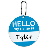 Tyler Hello My Name Is Round ID Card Luggage Tag
