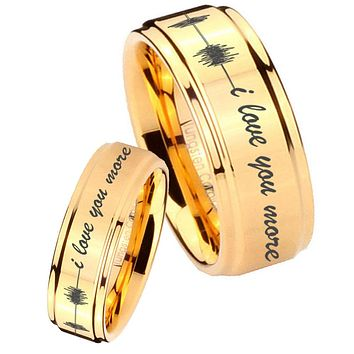 His Her Glossy Step Edges Sound Wave i love you more more 14K Gold IP Tungsten Wedding Rings Set