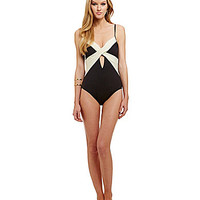 Kenneth Cole New York Underwire Wrap Front One Piece - Black