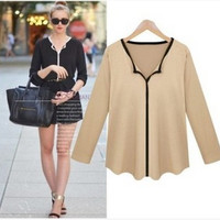 Fashion Spring Women Long Sleeve Solid Shirt Blouse T-Shirt a13122