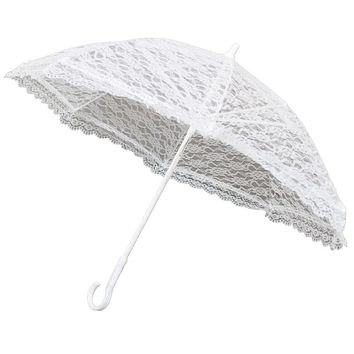 White Lace Parasol Umbrella for Bride in Wedding, 20-D