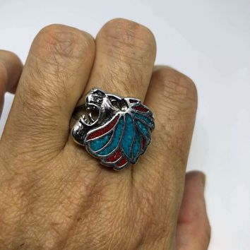 Vintage Gothic Silver White Bronze Inlay Turquoise Leo Lion Head Mens Ring