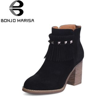 BONJOMARISA Women's Punk Rivet Tassel Shoes Woman Zipper Closure Chunky High Heel Platform Ankle Boots Size 33-43
