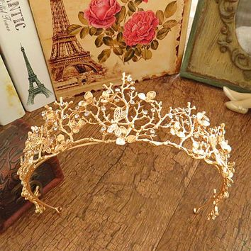 Gold Flower Bridal Crown Rhinestone Tiaras Women Wedding Diadem Hair Accessories Tiaras  -W128
