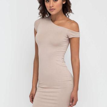 Going Off-Shoulder Asymmetrical Dress