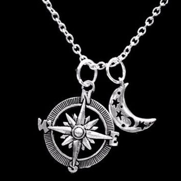 Crescent Moon Compass Beach Nautical Celestial Gift Charm Necklace