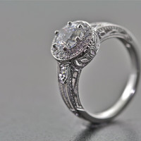 14kt White Gold and Diamond Art Deco Design Engagement Ring, Wedding Ring