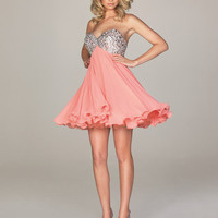 2011 Homecoming Dresses! Evenings By Allure - Coral Chiffon & Sequins Babydoll Strapless Sweetheart Homecoming Dress - Unique Vintage - Bridesmaid & Wedding Dresses
