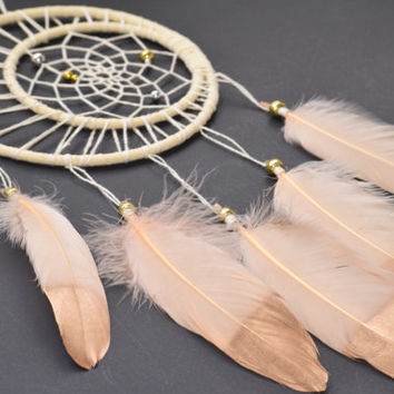 Dream catcher Wall hanging, Moon Dream catcher, Baby Shower Gift, Ivory Boho Dream catcher, Bohemian decor